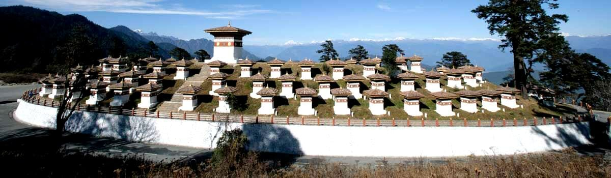 Bhutan's Dochula Pass lies between Thimphu and Punakha
